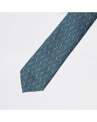 River Island - Green Geo Tie for Men - Lyst