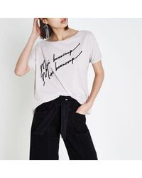 River Island - Natural Beige 'merci Beaucoup' Flocked Slouch T-shirt Beige 'merci Beaucoup' Flocked Slouch T-shirt - Lyst