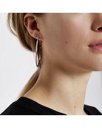 River Island - White Rose Gold Tone Hoop Earrings - Lyst