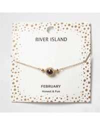 River Island - Purple Gem February Birthstone Bracelet - Lyst