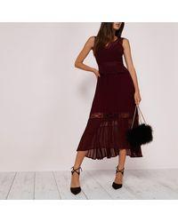 River Island - Dark Red Pleated Skirt Lace Trim Dress - Lyst