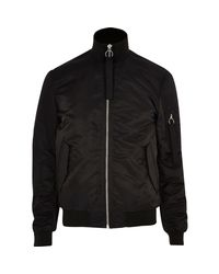 River Island - Black Padded Funnel Neck Bomber Jacket for Men - Lyst