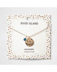 River Island - Blue Gem December Birthstone Necklace - Lyst