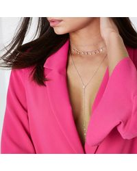 River Island - Pink Rose Gold Diamante Layer Plunge Choker Set - Lyst