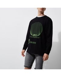 River Island - Black 'nyc' Green Print Slouch Fit Sweatshirt for Men - Lyst
