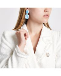 River Island - Blue Jewel Drop Clip On Earrings - Lyst