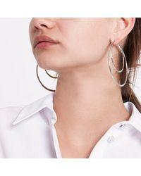 River Island - Metallic Silver Tone Double Hoop Earrings - Lyst