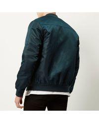 River Island - Blue Dark Green Casual Bomber Jacket for Men - Lyst