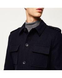 River Island - Blue Navy Wool-blend Smart Military Coat for Men - Lyst