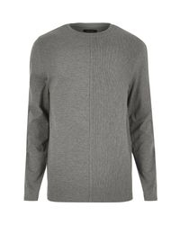 River Island - Gray Grey Textured Block Sweatshirt for Men - Lyst