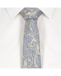 River Island - Blue Wedding Paisley Print Tie for Men - Lyst