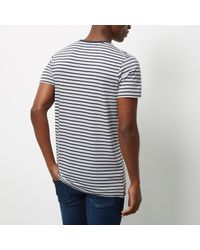 River Island - Blue Navy Jack & Jones Premium Stripe T-shirt for Men - Lyst