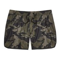 River Island | Dark Green Camo Print Swim Trunks for Men | Lyst