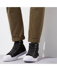River Island - Black Washed Canvas Hi Top Sneakers for Men - Lyst