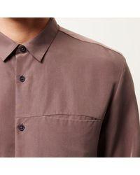 River Island - Brown Purple Slinky Cupro Shirt for Men - Lyst