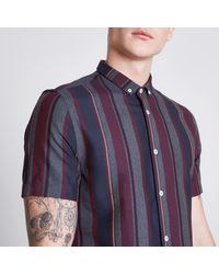 River Island - Purple Burgundy Mixed Stripe Slim Fit Shirt for Men - Lyst