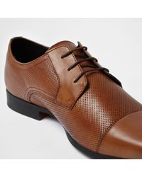 River Island - Brown Tan Toe Cap Perforated Lace-up Shoes for Men - Lyst