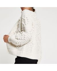 River Island - Natural Bobble Knit Cardigan - Lyst