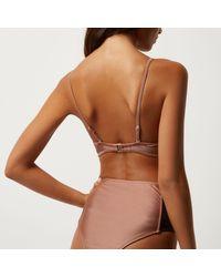 River Island - Brown Mesh Bikini Top - Lyst