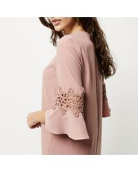 River Island - Pink Lace Cut Out Swing Dress - Lyst