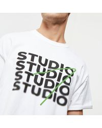 River Island - White Oversized Fit 'studio' Print T-shirt for Men - Lyst