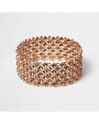 River Island - Multicolor Rose Gold Crystal Embellished Bracelet - Lyst