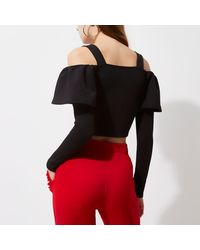 River Island - Black Bardot Frill Long Sleeve Crop Top - Lyst