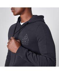 River Island - Gray Grey Biker Panel Sleeve Muscle Fit Hoodie for Men - Lyst