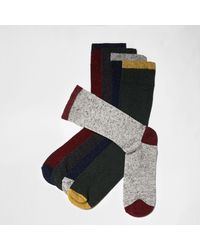 River Island - Red Neppy Contrast Ankle Socks Multipack Red Neppy Contrast Ankle Socks Multipack for Men - Lyst