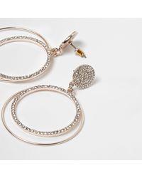 River Island - Metallic Rose Gold Tone Pave Hoop Drop Earrings - Lyst