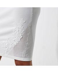 River Island - White Knit Floral Appliqué Bodycon Skirt - Lyst