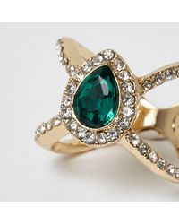 River Island - Metallic Gold Tone Emerald Jewel Cage Diamate Ring - Lyst