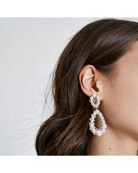 River Island - Metallic Gold Tone Faux Pearl Teardrop Earrings - Lyst