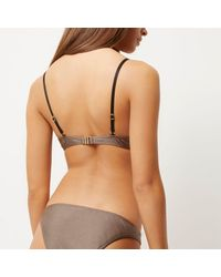 River Island | Mocha Brown Strappy Plunge Bikini Top | Lyst
