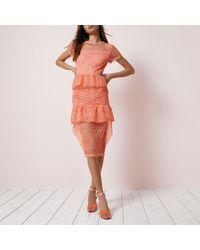 River Island - Pink Coral Lace Tiered Frill Midi Dress - Lyst