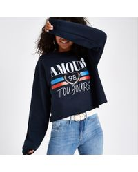 River Island - Blue 'amour Toujours' Sweater - Lyst
