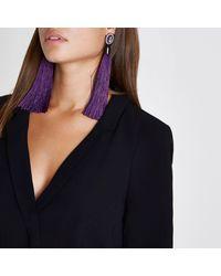 River Island - Purple Rhinestone Tassel Drop Earrings - Lyst