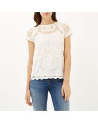 River Island - White Short Sleeve Lace T-shirt - Lyst
