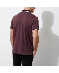 River Island - Dark Purple Slim Fit Sporty Tipped Polo Shirt for Men - Lyst