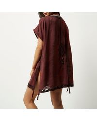 River Island - Brown Fringed Cover-up Kaftan - Lyst