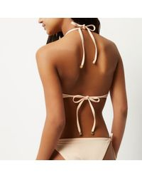 River Island   Natural Ri Resort Beige Mesh Halter Neck Bikini   Lyst