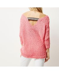 River Island - Bright Pink Slouchy Jumper - Lyst