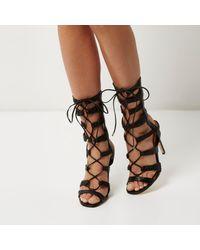 River Island - Black Strappy Tie-up Heels - Lyst
