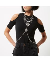 River Island - Metallic Silver Tone Chain Harness - Lyst