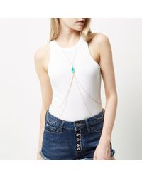 River Island - Blue Turquoise Embellished Body Harness - Lyst