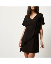River Island - Black Frilly Swing Dress - Lyst