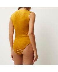 River Island | Dark Yellow Sleeveless Lace-up Bodysuit | Lyst