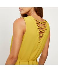 River Island - Yellow Lace-up Swing Dress - Lyst