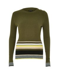 River Island | Natural Khaki Stripe Button Jumper | Lyst