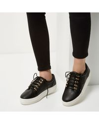 River Island Black Leather Look Platform Trainers